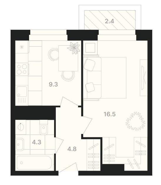 1-комнатная квартира 37,9 м² с балконом из комнаты