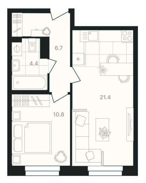 1-комнатная квартира 45,3 м² с кухней-гостиной и изолированной спальней