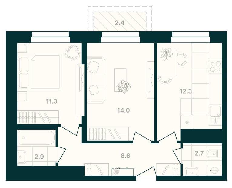 2-комнатная квартира 54,2 м² с балконом из гостиной и раздельным санузлом