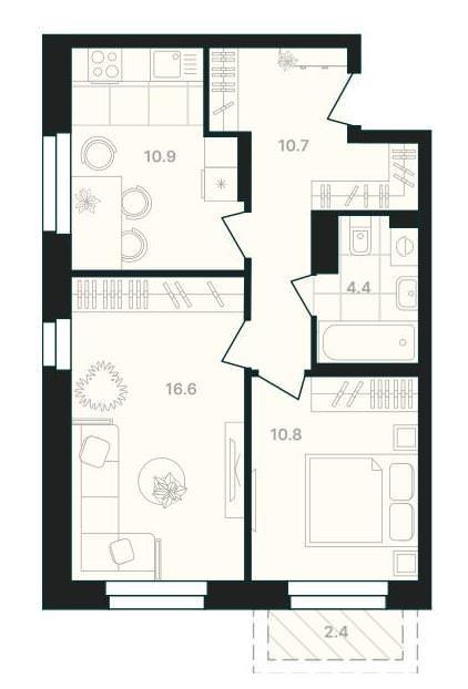 2-комнатная квартира 55,8 м² с балконом из спальни и совмещенным санузлом