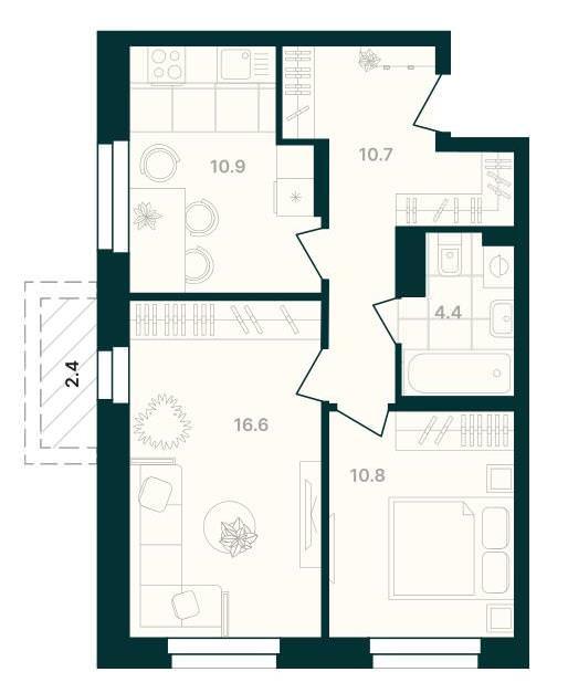 2-комнатная квартира 55,8 м² с балконом из гостиной