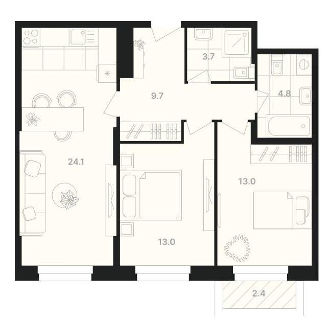 2-комнатная квартира 70,7 м² с просторной кухней-гостиной и двумя санузлами