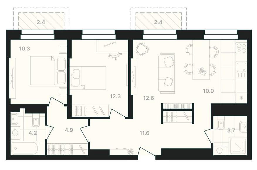 Просторная 3-комнатная квартира с кухней-гостиной и двумя балконами