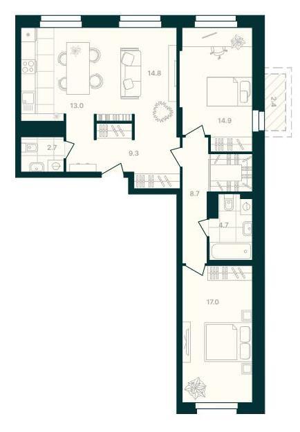 3-комнатная квартира 87,5 м² с просторной кухней-гостиной и балконом