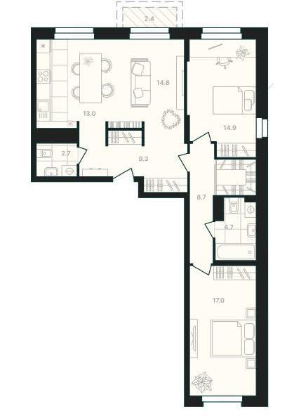 3-комнатная квартира-распашонка 87,5 м² с просторной кухней-гостиной
