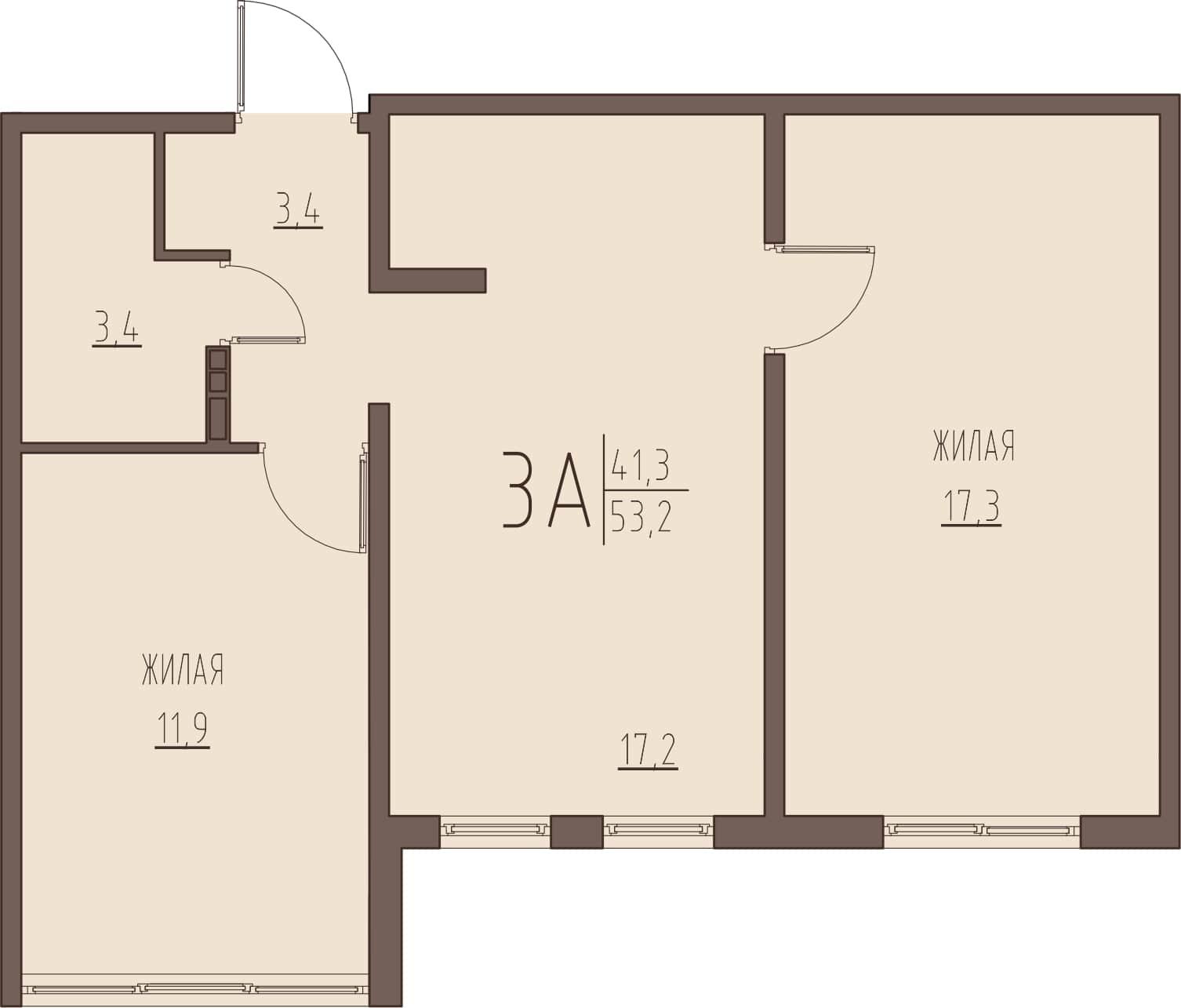 3-комнатная квартира 53,2 м² с проходной кухней-гостиной