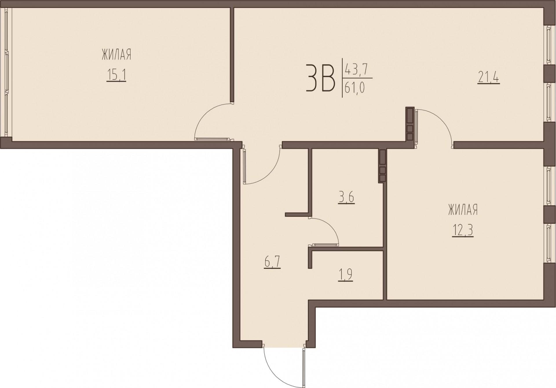 3-комнатная квартира 61 м² с просторной кухней-гостиной и раздельным санузлом