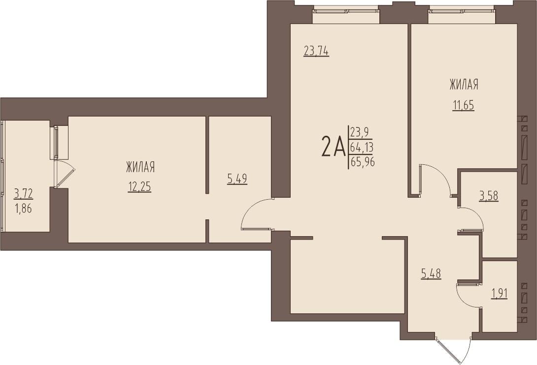 Просторная 2-комнатная квартира 65,96 м² с кухней-гостиной