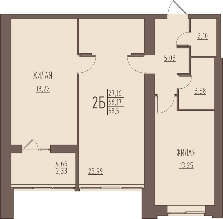 Просторная 2-комнатная квартира 68,5 м² с раздельным санузлом