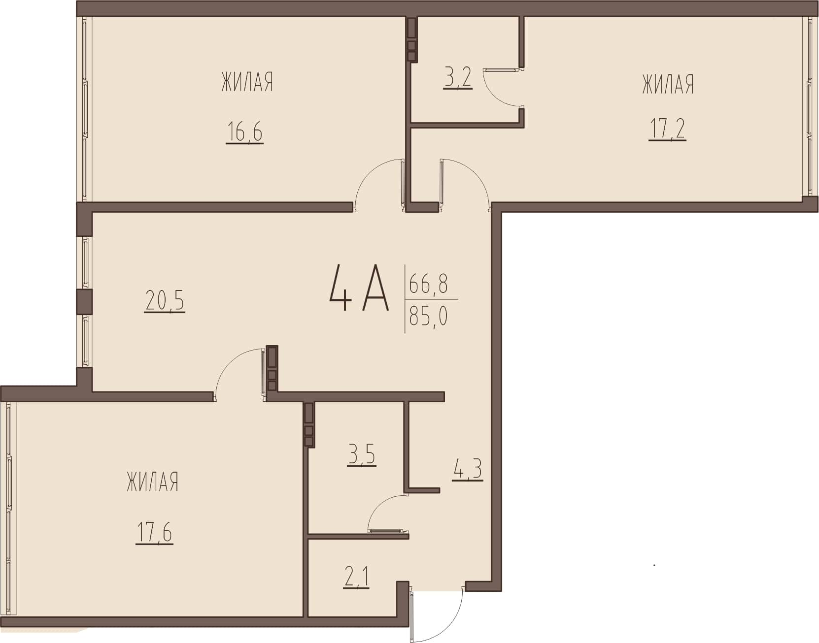 4-комнатная квартира 85 м² с просторными комнатами и кухней-гостиной