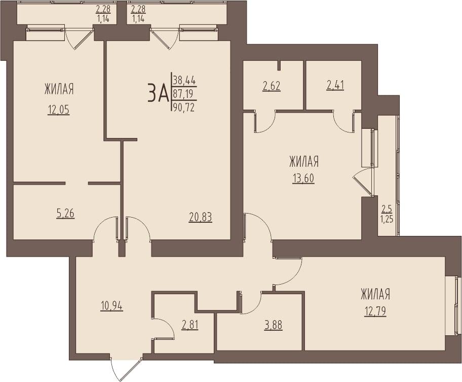 Просторная 3-комнатная квартира 90,72 м² с кухней-гостиной и тремя лоджиями